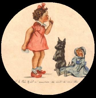 dessin-petite-fille-chien-poupee-carte-noel