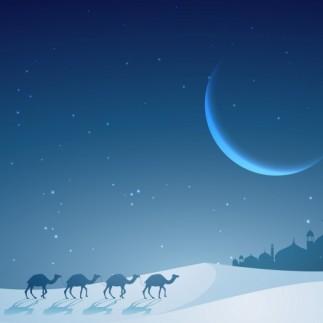 camels-walking-in-a-night-desert_1017-2850