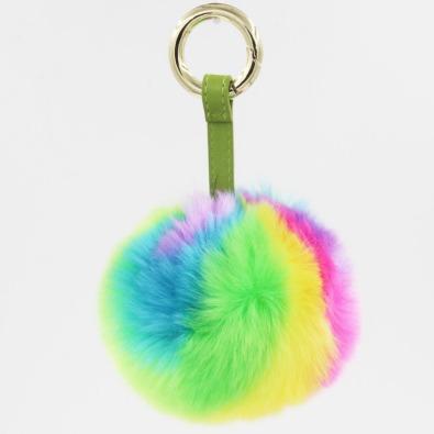 Furling-1ピースキャンディ虹色10センチフェイクファーソフトpom-pomボールキーホルダー女性のバッグチャー