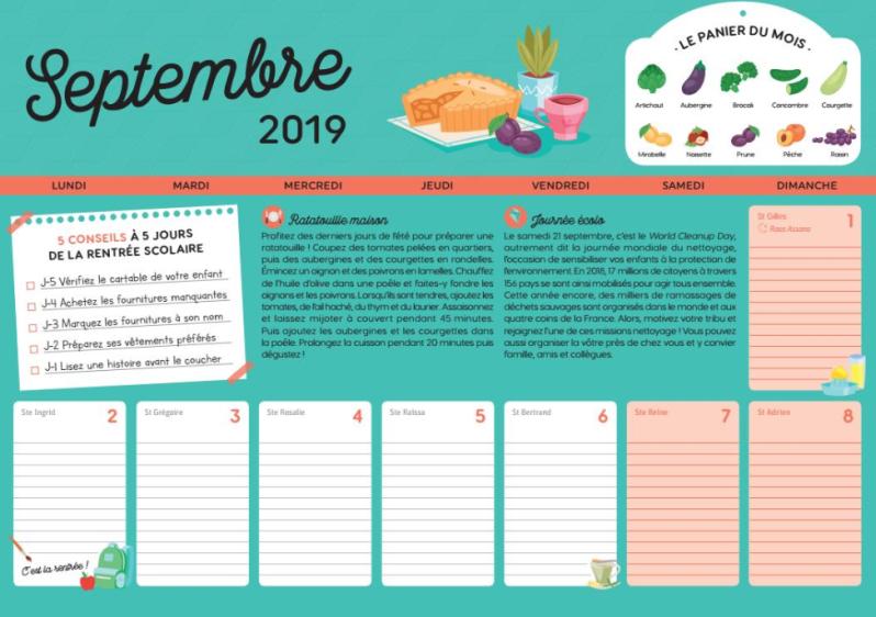 calendrier familial produits de saison check list recette